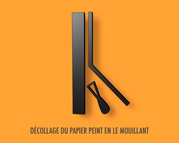d collage du papier peint en le mouillant. Black Bedroom Furniture Sets. Home Design Ideas